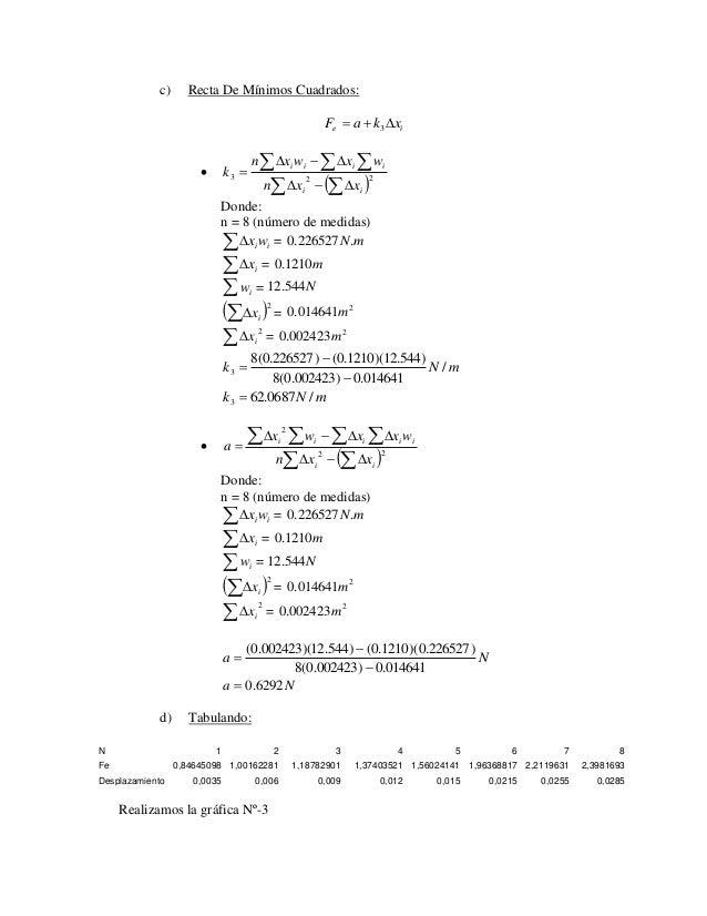 c) Recta De Mínimos Cuadrados:  e i F  a  k x 3                     3 2 2  i i  i i i i  n x x  n x w x ...