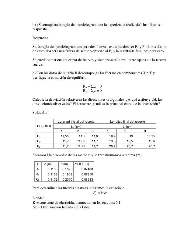 b) ¿Se cumpliría la regla del paralelogramo en la experiencia realizada? Justifique su  respuesta.  Respuesta  Si, la regl...