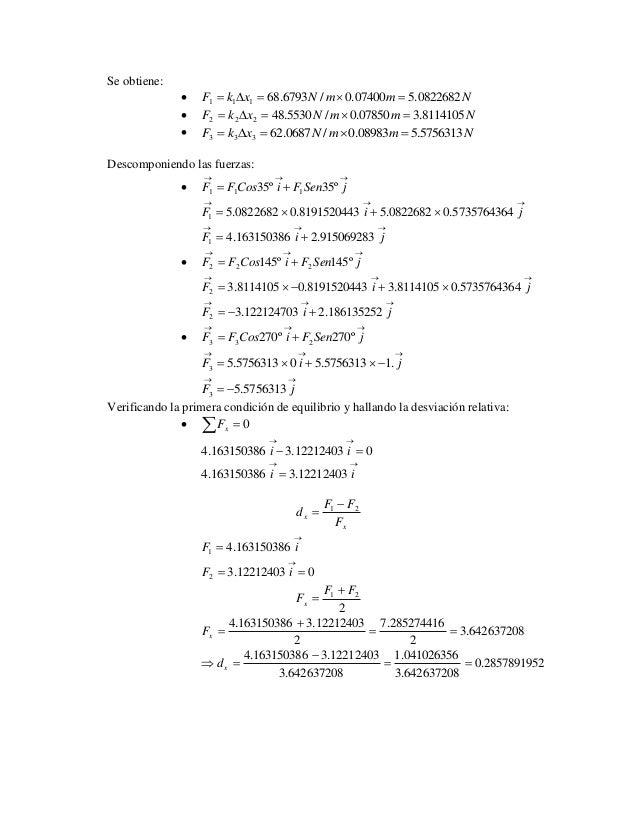 Se obtiene:   F k x 68.6793N /m 0.07400m 5.0822682N 1 1 1        F k x 48.5530N /m 0.07850m 3.8114105N 2 2 2    ...