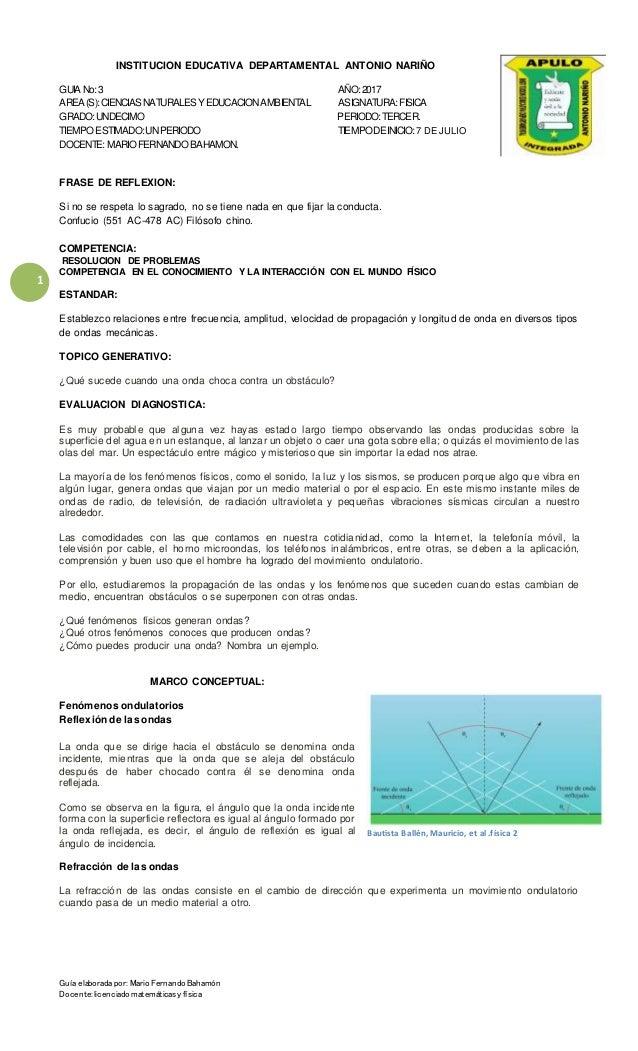 Fisica 3 Periodo Fenomenos Ondulatorios 2017