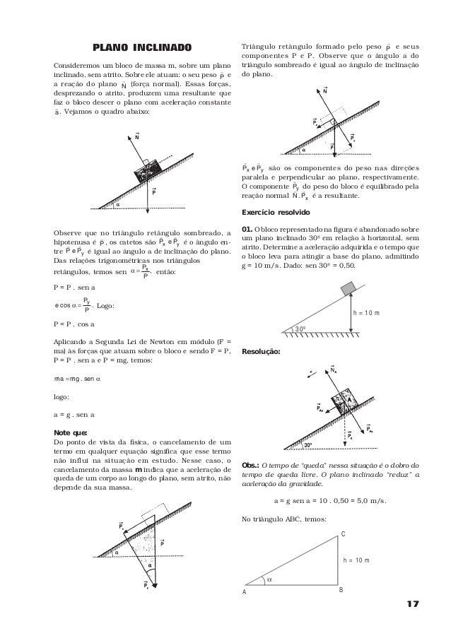 17PLANO INCLINADOConsideremos um bloco de massa m, sobre um planoinclinado, sem atrito. Sobre ele atuam: o seu peso PHea r...