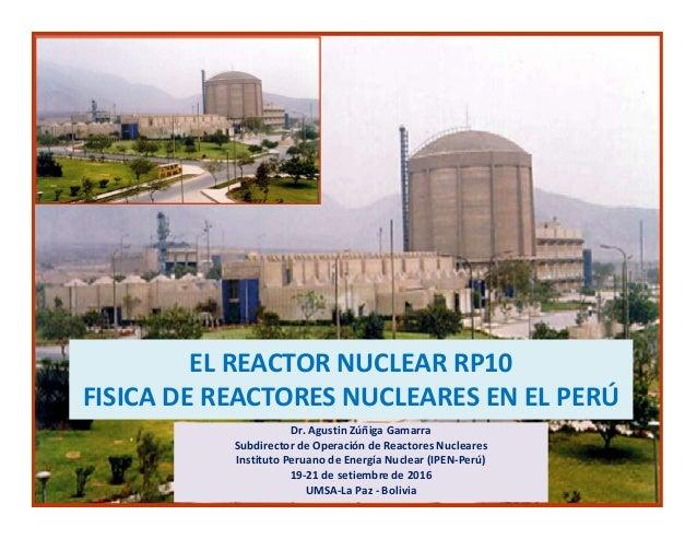 EL REACTOR NUCLEAR RP10 FISICA DE REACTORES NUCLEARES EN EL PERÚ Dr. Agustin Zúñiga Gamarra Subdirector de Operación de Re...