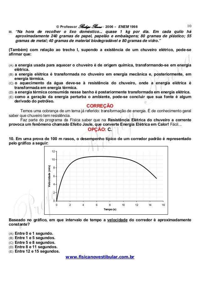 "© Professor Rodrigo Penna – 2006 – ENEM 1998www.fisicanovestibular.com.br10III. ""Na hora de recolher o lixo doméstico... q..."