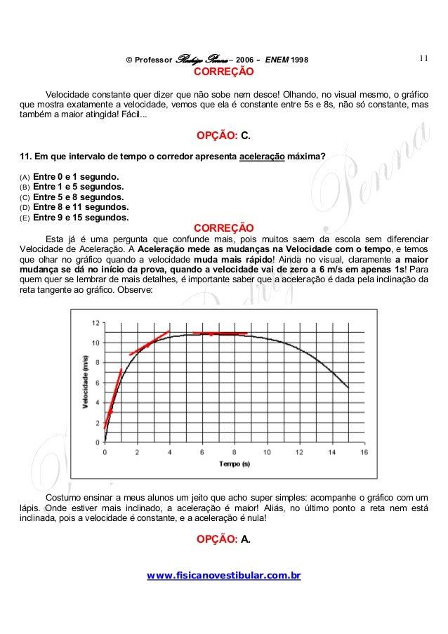 © Professor Rodrigo Penna – 2006 – ENEM 1998www.fisicanovestibular.com.br11CORREÇÃOVelocidade constante quer dizer que não...