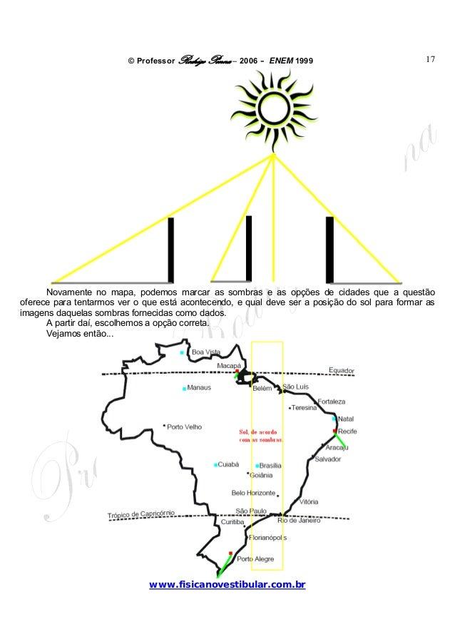 © Professor Rodrigo Penna – 2006 – ENEM 1999www.fisicanovestibular.com.br17Novamente no mapa, podemos marcar as sombras e ...