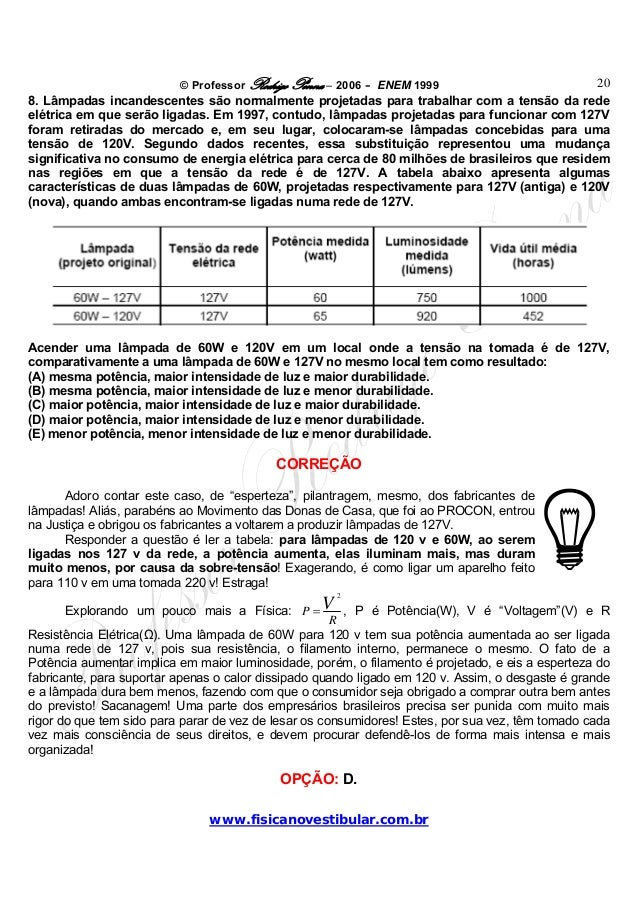 © Professor Rodrigo Penna – 2006 – ENEM 1999www.fisicanovestibular.com.br208. Lâmpadas incandescentes são normalmente proj...