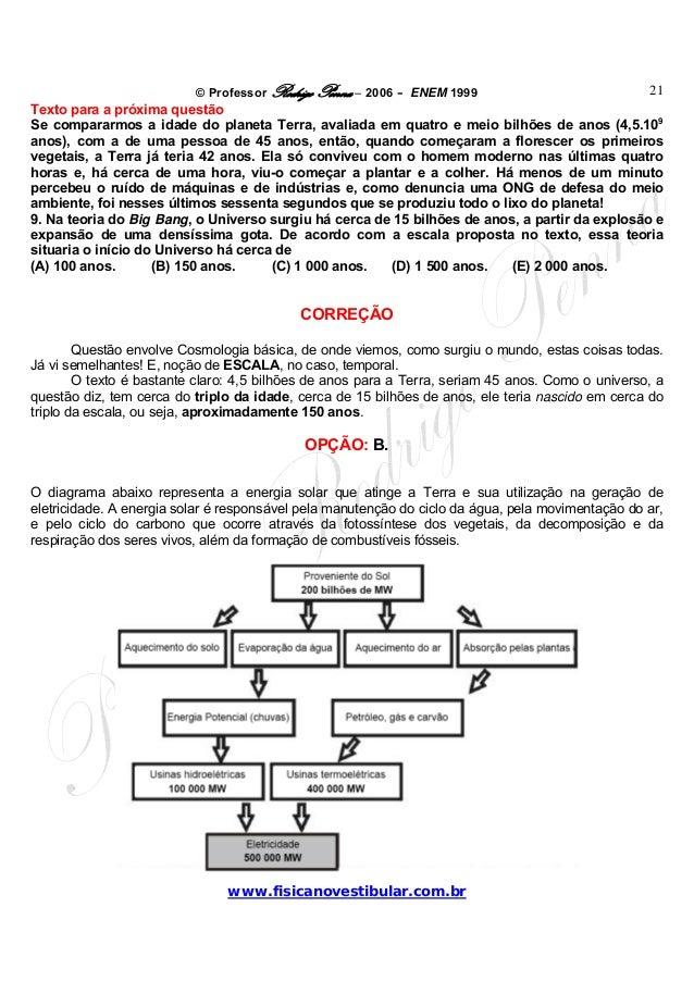 © Professor Rodrigo Penna – 2006 – ENEM 1999www.fisicanovestibular.com.br21Texto para a próxima questãoSe compararmos a id...