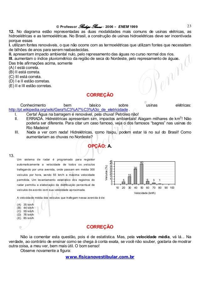 © Professor Rodrigo Penna – 2006 – ENEM 1999www.fisicanovestibular.com.br2312. No diagrama estão representadas as duas mod...
