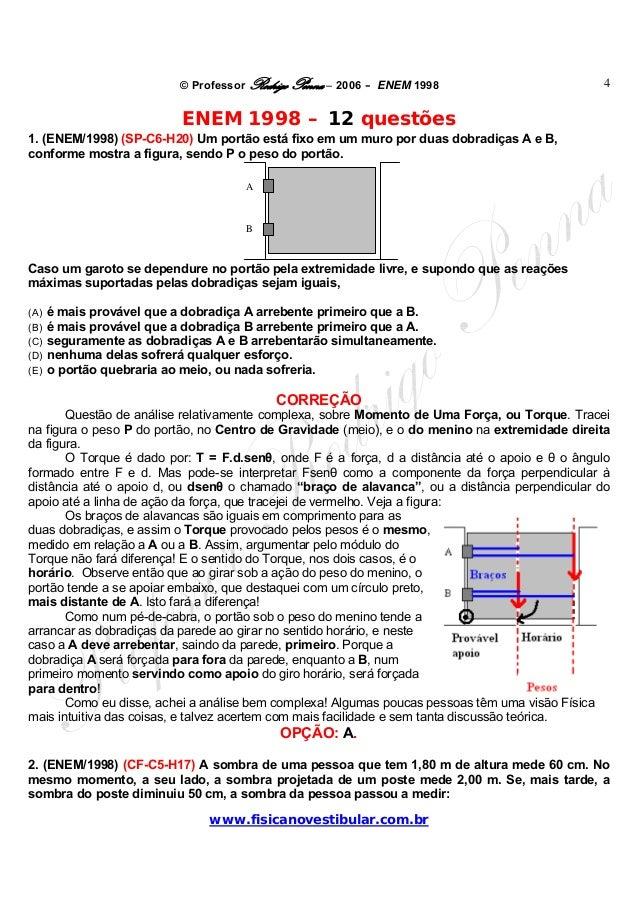 © Professor Rodrigo Penna – 2006 – ENEM 1998www.fisicanovestibular.com.br4ENEM 1998 – 12 questões1. (ENEM/1998) (SP-C6-H20...