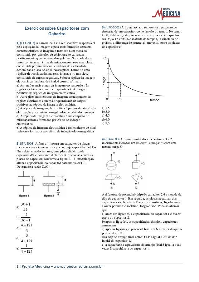 1 | Projeto Medicina – www.projetomedicina.com.br Exercícios sobre Capacitores com Gabarito 1) (UEL-2003) A câmara de TV é...