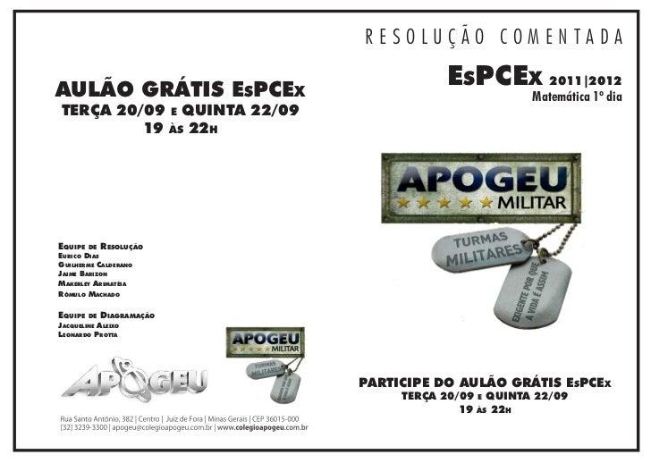 RESOLUÇÃO COMENTADAAULÃO GRÁTIS EsPCEx                                         EsPCEx 2011|2012                           ...