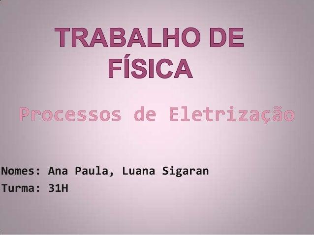 Processos de eletrização Considera-se um corpo eletrizado     quando este tiver número       diferente de prótons e  elétr...