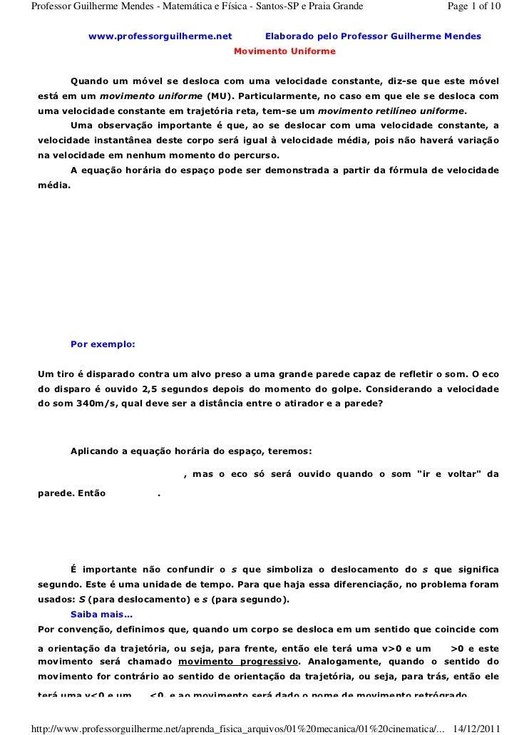 Professor Guilherme Mendes - Matemática e Física - Santos-SP e Praia Grande               Page 1 of 10            www.prof...