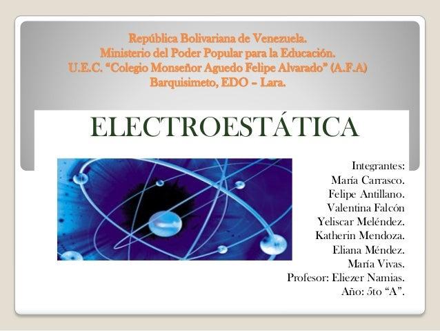 """República Bolivariana de Venezuela.     Ministerio del Poder Popular para la Educación.U.E.C. """"Colegio Monseñor Aguedo Fel..."""