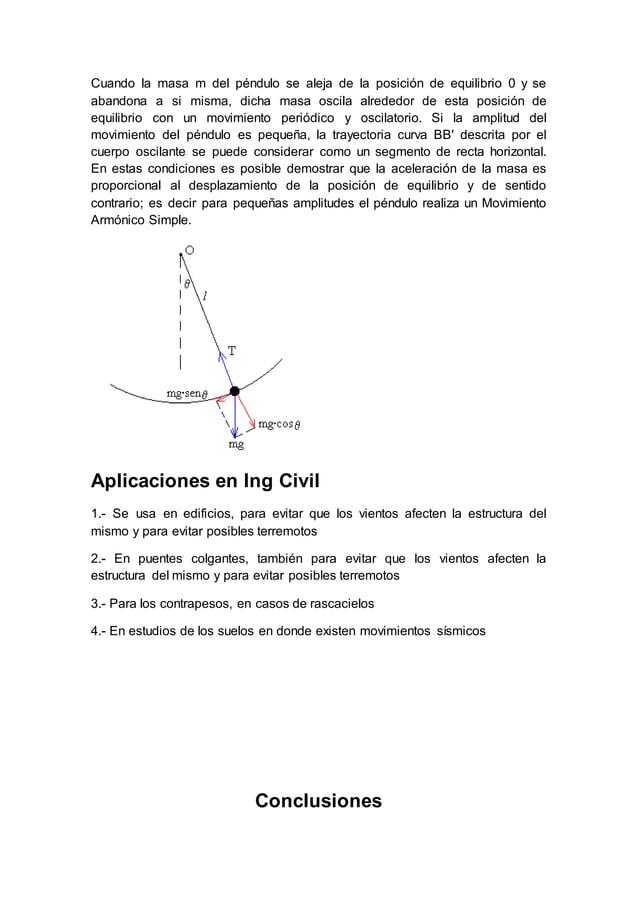 Cuando la masa m del péndulo se aleja de la posición de equilibrio 0 y se abandona a si misma, dicha masa oscila alrededor...