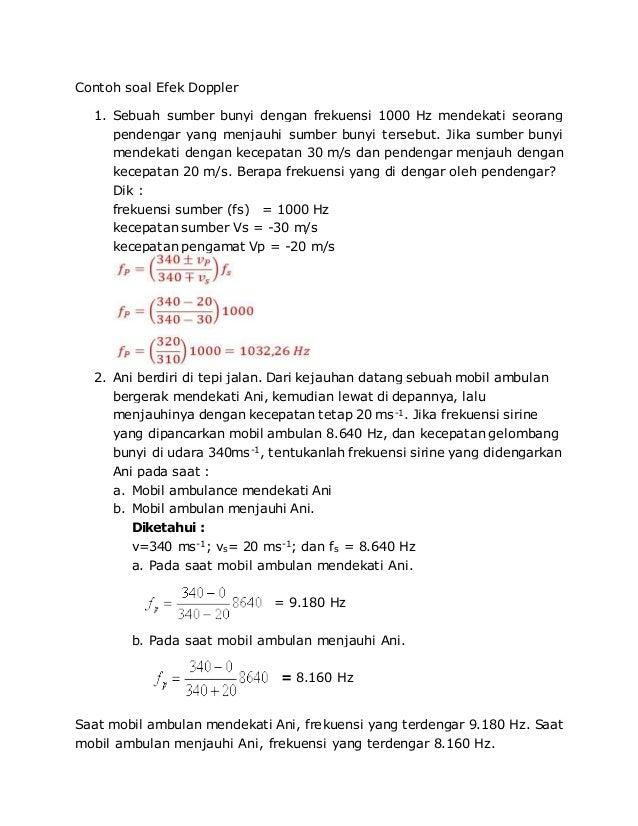 Contoh Soal Efek Doppler Kumpulan Soal Pelajaran 2