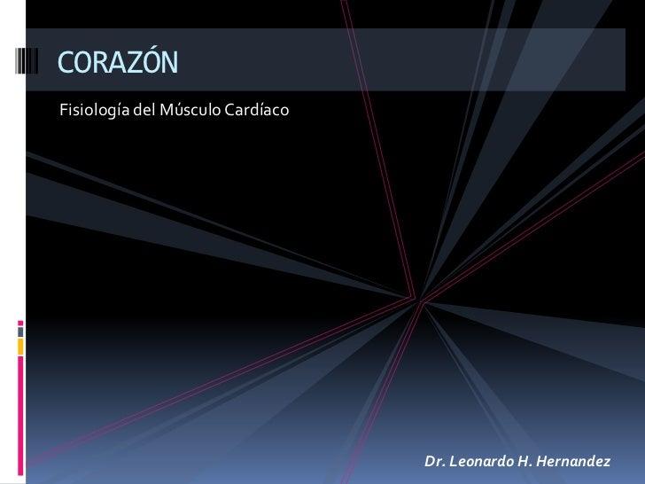 Fisiología del Músculo Cardíaco<br />CORAZÓN<br />Dr. Leonardo H. Hernandez<br />