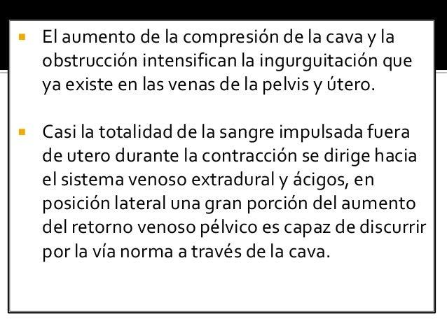  El aumento de la compresión de la cava y la obstrucción intensifican la ingurguitación que ya existe en las venas de la ...