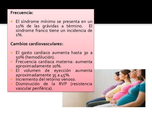 Frecuencia:  El síndrome mínimo se presenta en un 11% de las grávidas a término. El síndrome franco tiene un incidencia d...