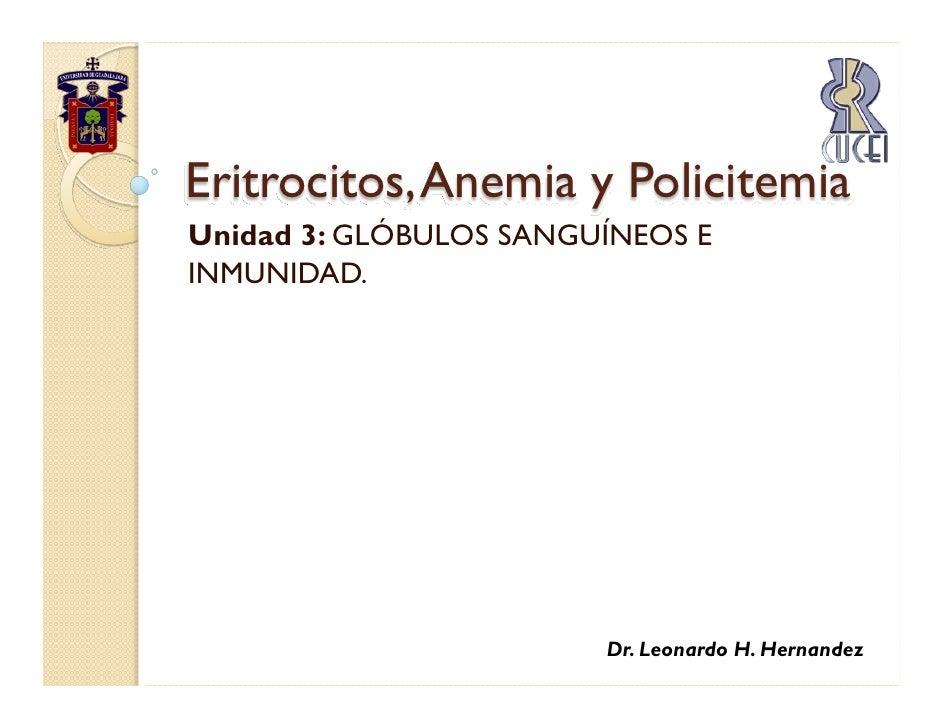 Eritrocitos, Anemia y Policitemia Unidad 3: GLÓBULOS SANGUÍNEOS E INMUNIDAD.                             Dr. Leonardo H. H...