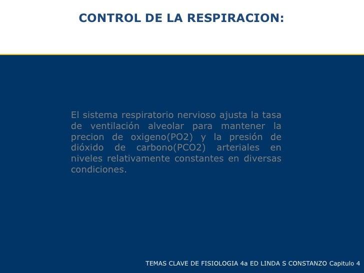 CONTROL DE LA RESPIRACION:El sistema respiratorio nervioso ajusta la tasade ventilación alveolar para mantener laprecion d...