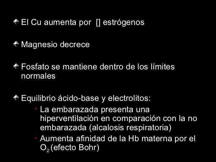 <ul><li>El Cu aumenta por  [] estrógenos </li></ul><ul><li>Magnesio decrece </li></ul><ul><li>Fosfato se mantiene dentro d...