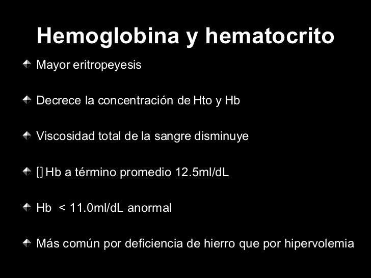 Hemoglobina y hematocrito <ul><li>Mayor eritropeyesis </li></ul><ul><li>Decrece la concentración de Hto y Hb </li></ul><ul...