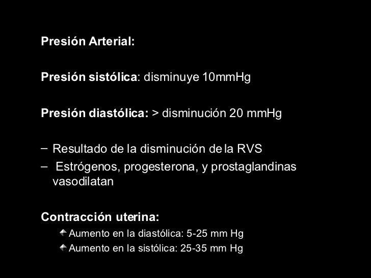 <ul><ul><li>Presión Arterial: </li></ul></ul><ul><ul><li>Presión sistólica : disminuye  10mmHg </li></ul></ul><ul><ul><li>...