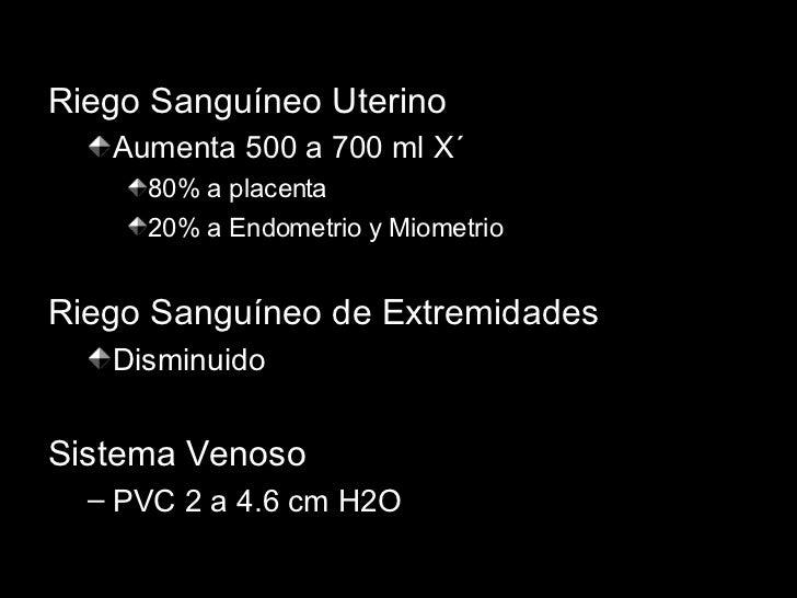 <ul><li>Riego Sanguíneo Uterino </li></ul><ul><ul><li>Aumenta 500 a 700 ml X´ </li></ul></ul><ul><ul><ul><li>80% a placent...