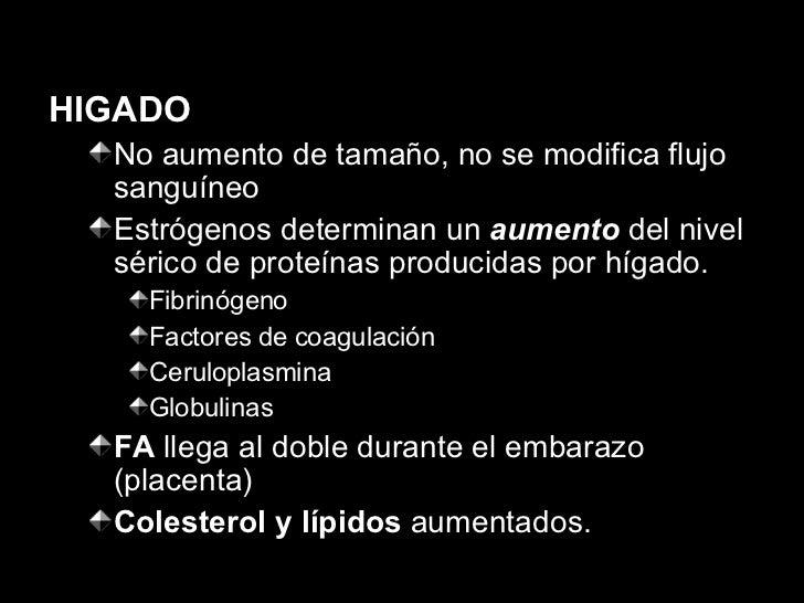 <ul><li>HIGADO </li></ul><ul><ul><li>No aumento de tamaño, no se modifica flujo sanguíneo </li></ul></ul><ul><ul><li>Estró...