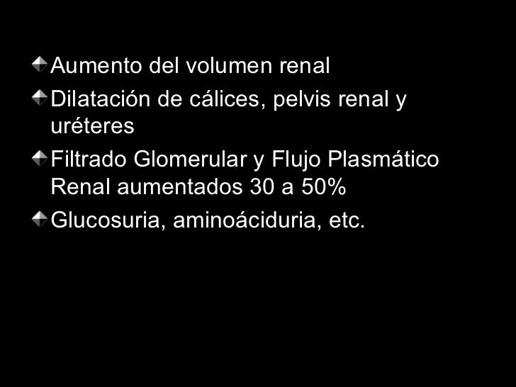 <ul><li>Aumento del volumen renal </li></ul><ul><li>Dilatación de cálices, pelvis renal y uréteres </li></ul><ul><li>Filtr...