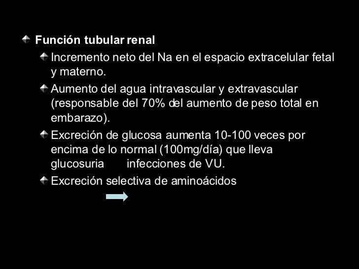 <ul><li>Función tubular renal </li></ul><ul><ul><li>Incremento neto del Na en el espacio extracelular fetal y materno. </l...