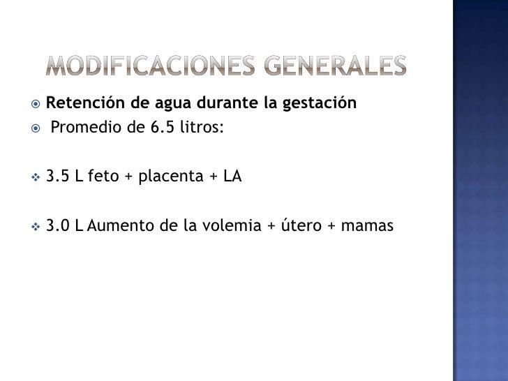 MODIFICACIONES GENERALES<br />Retención de agua durante la gestación<br />Promedio de 6.5 litros:<br /><ul><li>3.5 L feto ...