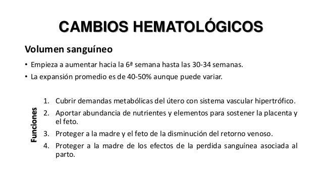 CAMBIOS HEMATOLÓGICOS Volumen sanguíneo  Funciones  • Empieza a aumentar hacia la 6ª semana hasta las 30-34 semanas. • La ...