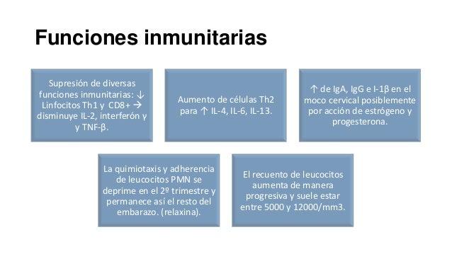 Funciones inmunitarias Supresión de diversas funciones inmunitarias: ↓ Linfocitos Th1 y CD8+  disminuye IL-2, interferón ...