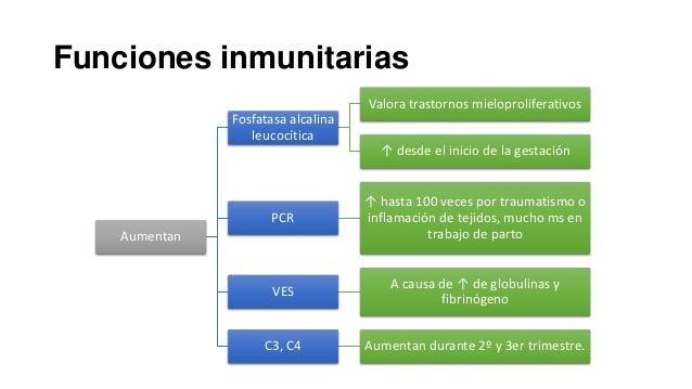 Funciones inmunitarias Valora trastornos mieloproliferativos  Fosfatasa alcalina leucocítica ↑ desde el inicio de la gesta...