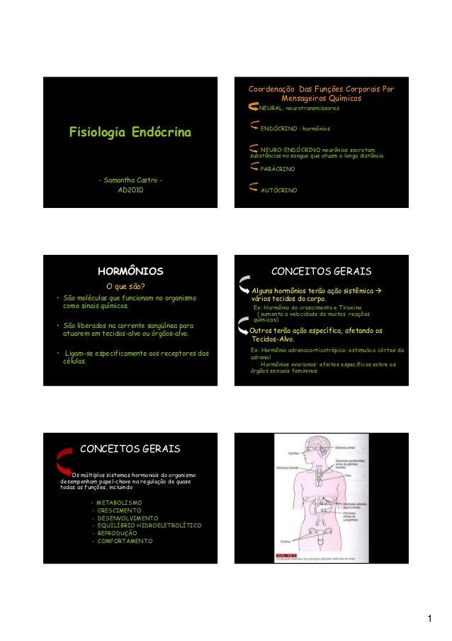 Coordenação Das Funções Corporais Por                                                                 Mensageiros Químicos...
