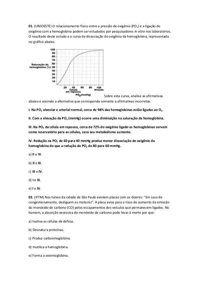 01. (UNIOESTE) O relacionamento físico entre a pressão de oxigênio (PO2) e a ligação do oxigênio com a hemoglobina podem s...