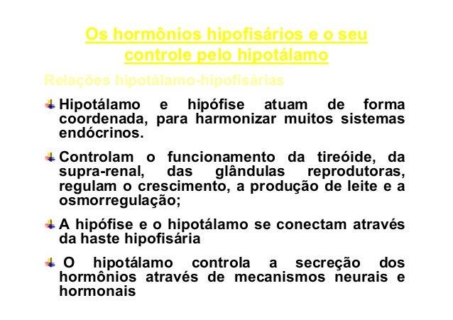 Os hormônios hipofisários e o seu controle pelo hipotálamo Relações hipotálamo-hipofisárias Hipotálamo e hipófise atuam de...