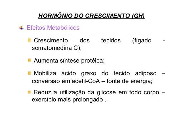 HORMÔNIO DO CRESCIMENTO (GH) Efeitos Metabólicos Crescimento dos somatomedina C);  tecidos  (fígado  -  Aumenta síntese pr...