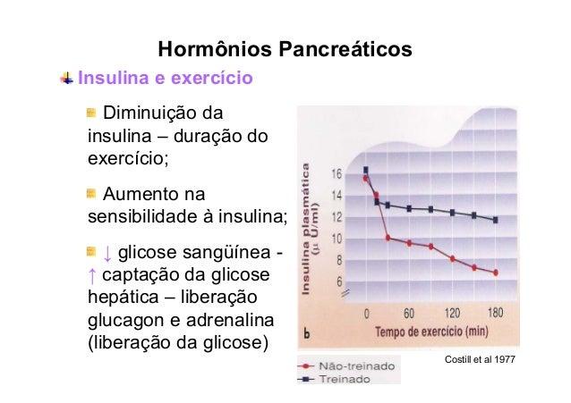 """Hormônios Pancreáticos Glucagon (""""antagonista da insulina"""") Estimula a glicogenólise (conversão do glicogênio em glicose) ..."""