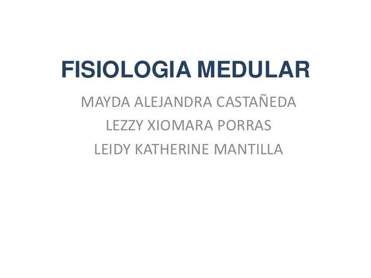 FISIOLOGIA MEDULAR MAYDA ALEJANDRA CASTAÑEDA    LEZZY XIOMARA PORRAS  LEIDY KATHERINE MANTILLA