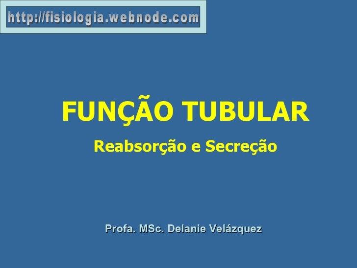 Profa. MSc. Delanie Velázquez FUNÇÃO TUBULAR Reabsorção e Secreção http://fisiologia.webnode.com