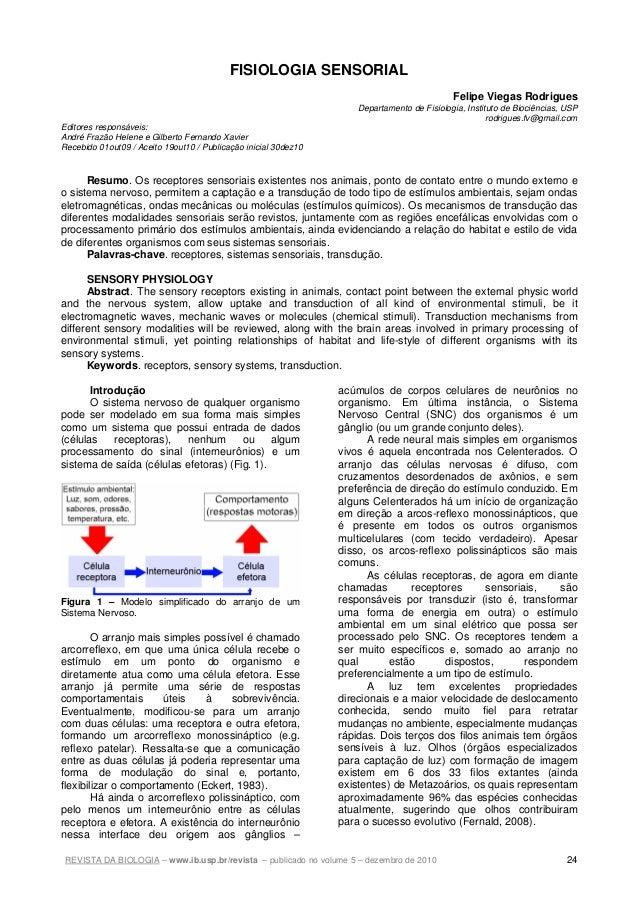 REVISTA DA BIOLOGIA – www.ib.usp.br/revista – publicado no volume 5 – dezembro de 2010 24 FISIOLOGIA SENSORIAL Felipe Vieg...