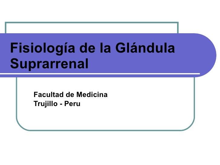 Fisiología de la Glándula Suprarrenal Facultad de Medicina Trujillo - Peru