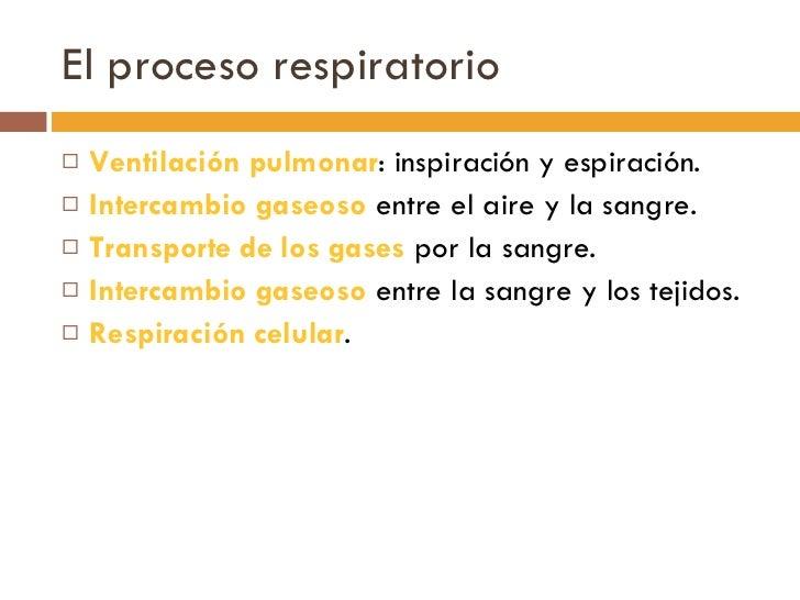El proceso respiratorio <ul><li>Ventilación pulmonar : inspiración y espiración. </li></ul><ul><li>Intercambio gaseoso  en...