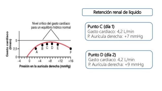 Retención renal de liquido Punto C (día 1) Gasto cardiaco: 4,2 L/min P. Aurícula derecha: +7 mmHg Punto D (día 2) Gasto ca...