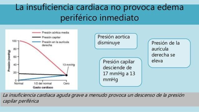La insuficiencia cardiaca no provoca edema periférico inmediato Presión aortica disminuye Presión de la aurícula derecha s...