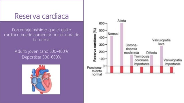Reserva cardiaca Porcentaje máximo que el gasto cardiaco puede aumentar por encima de lo normal Adulto joven sano 300-400%...