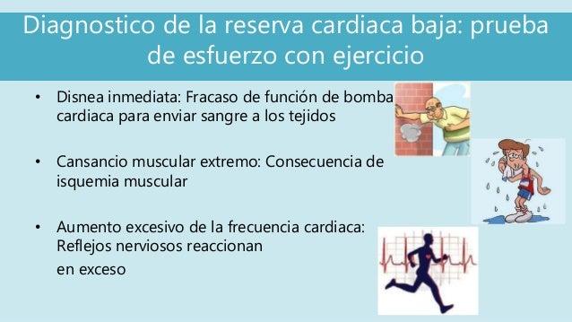 Diagnostico de la reserva cardiaca baja: prueba de esfuerzo con ejercicio • Disnea inmediata: Fracaso de función de bomba ...